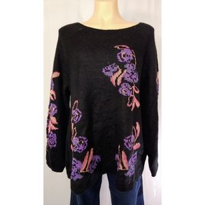 🆕Style&Co 🚺 Floral Knit Metallic Thread Stitches
